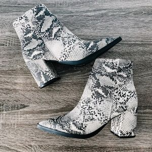 Shoes - Snakeskin Booties